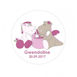 Stickers Victoria & Lucie personnalisable rond