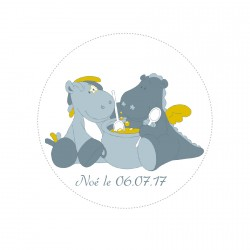 Stickers Victor & Lucien personnalisable rond