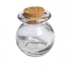Pot en verre avec rebord couvercle en liège